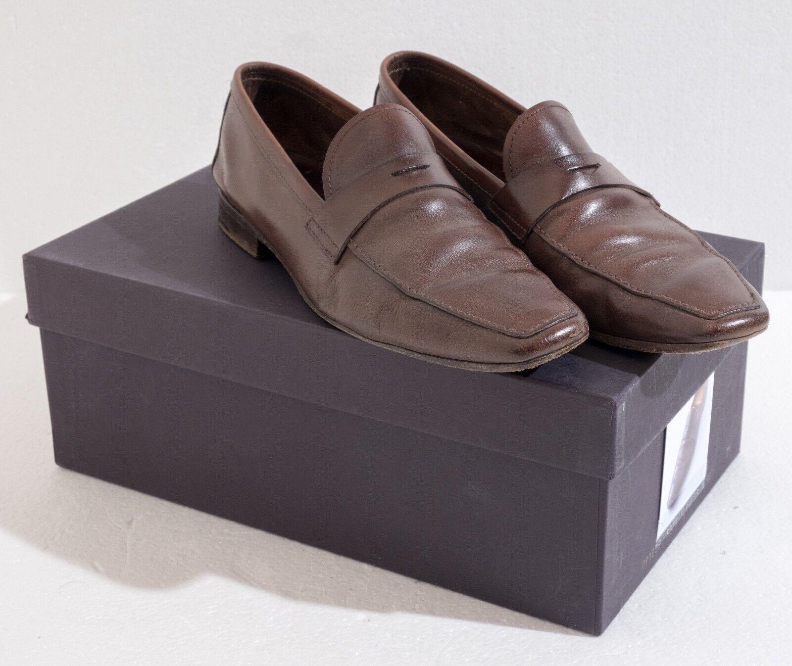 Genuine Genuine Genuine Prada Mens Brown Leather Loafers Size 8 (Style 1727) 2ec15b