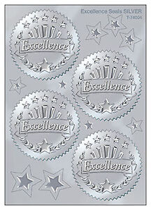 32 Embossed Silver Certificate Stickers Ideal For Teacher Rewards Excellence
