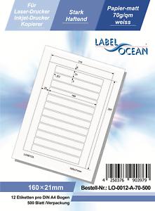 Klebeetiketten DIN A4 weiß 160x21mm 500 Blatt Laser Inkjet Kopierer