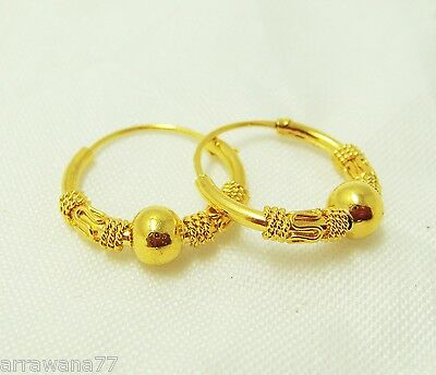 Bead India 22K 23K 24K THAI BAHT YELLOW GOLD GP EARRINGS HOOPS E101