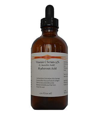 4 oz Vitamin C (L-Ascorbic Acid) 25% with Pure Hyaluronic Acid Anti Aging Serum