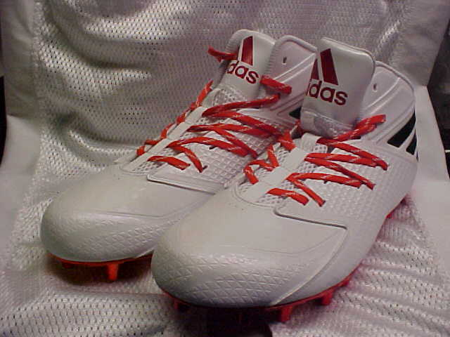 6701c0c2e567 Miami Hurricanes Adidas SM Freak Mid Wide Molded Football Cleats Cleats  Cleats B42898 Size 13 7d6a56