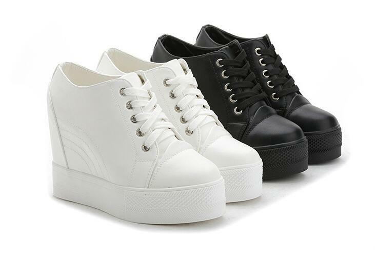 Ladies Wedge Heel Sneakers Round Toe Lace Up Platform shoes Casual Pumps Vogue