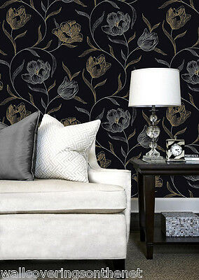 3 ROLLS OF Gold & Silver on a Black Background, Floral Patterned, Wallpaper