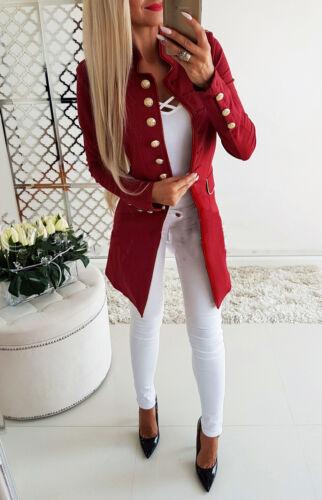 Women Ladies Casual Single-breasted Formal Long Blazer Jacket Pea Coat Slim Fit