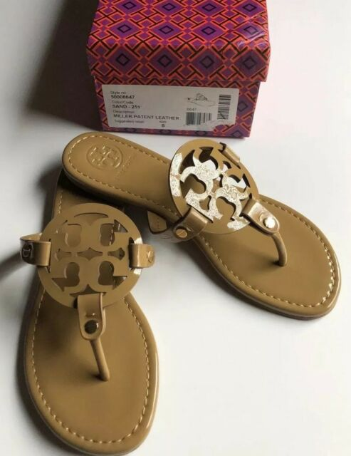 New Tory Burch Nude Patent Leather Miller Logo Sandals Size 8 M: -