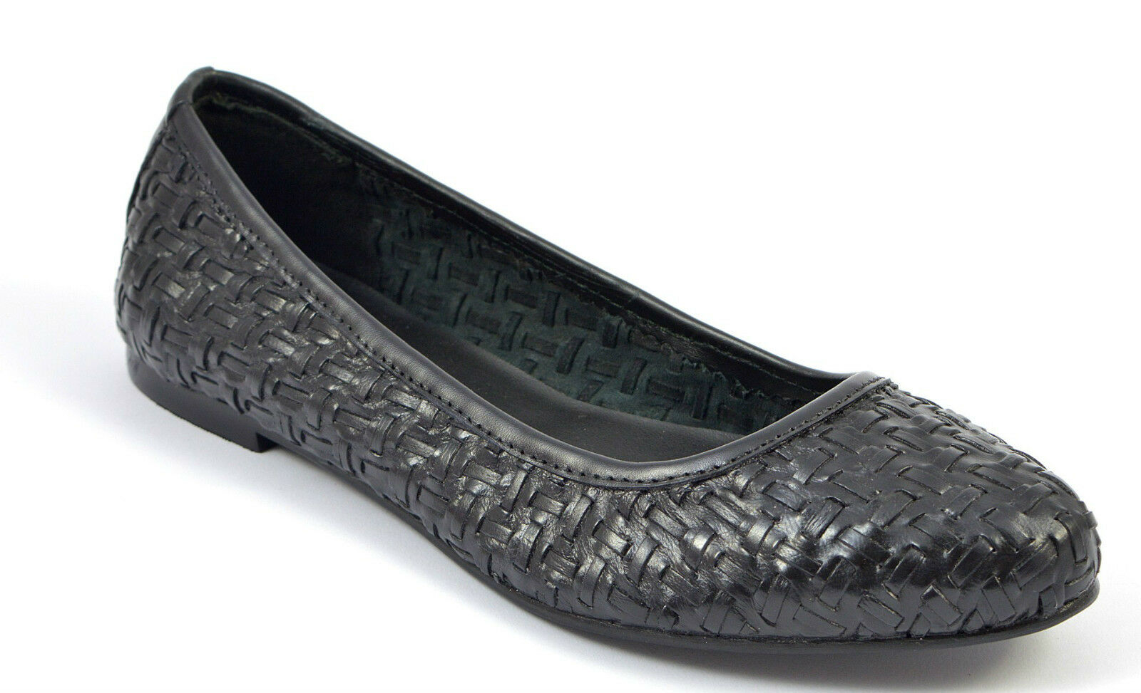Womens Ladies Black Woven Leather Pumps Flats Shoes Ballerina Loafers Toe Heel