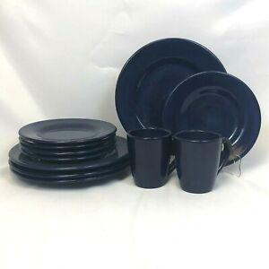 ODD-LOT-11-PIECES-TABLETOPS-UNLIMITED-CORSICA-COBALT-BLUE-DINNER-PLATE-MUG-LUNCH