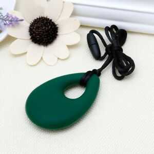 Best-Selling-Teardrop-Sensory-Chew-Silicone-Necklace-Pendant-Autism-ADHD-Green