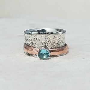 Blue-Topaz-925-Sterling-Silver-Spinner-Ring-Meditation-Statement-Jewelry-A104