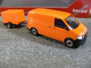 187 Herpa Vw T6 Kasten Mit Planen Anhänger Orange Kommunal 093071