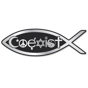 PF001-MAG-Coexist-Fish-3D-Chrome-Emblem-Auto-Truck-Jesus-Parody-Darwin-MAGNET