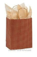 Paper Shopping Bags 25 Red Gingham Gift Retail Merchandise 8 X 4 X 10 Cub