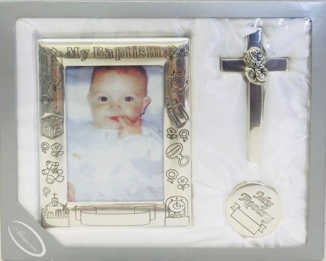 Baby Catholic Baptism Gift Set Includes Babyu0027s First Rosary Frame Cross Silver & Baby Baptism Keepsake Gift Set Christening Frame Cross Rosary Case ...