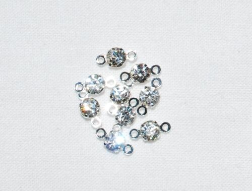 Q26 50 8mm Clear Crystal Silver Connector Joiners Swarovski Component