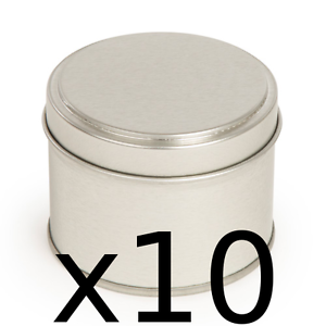 10-Candle-tins-Make-10-silver-colour-candle-container-tins-200ml-Round-step-lid