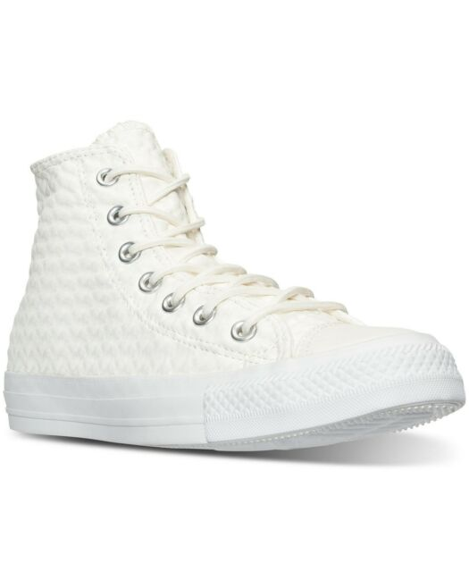 Women Athletic Sneakers Converse Chuck Taylor Hi Craft Leather White 153563C