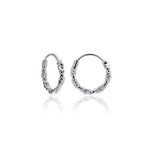 15 mm Sterling Silver 1.8 mm Twist Endless Hoop Boucles d/'oreilles