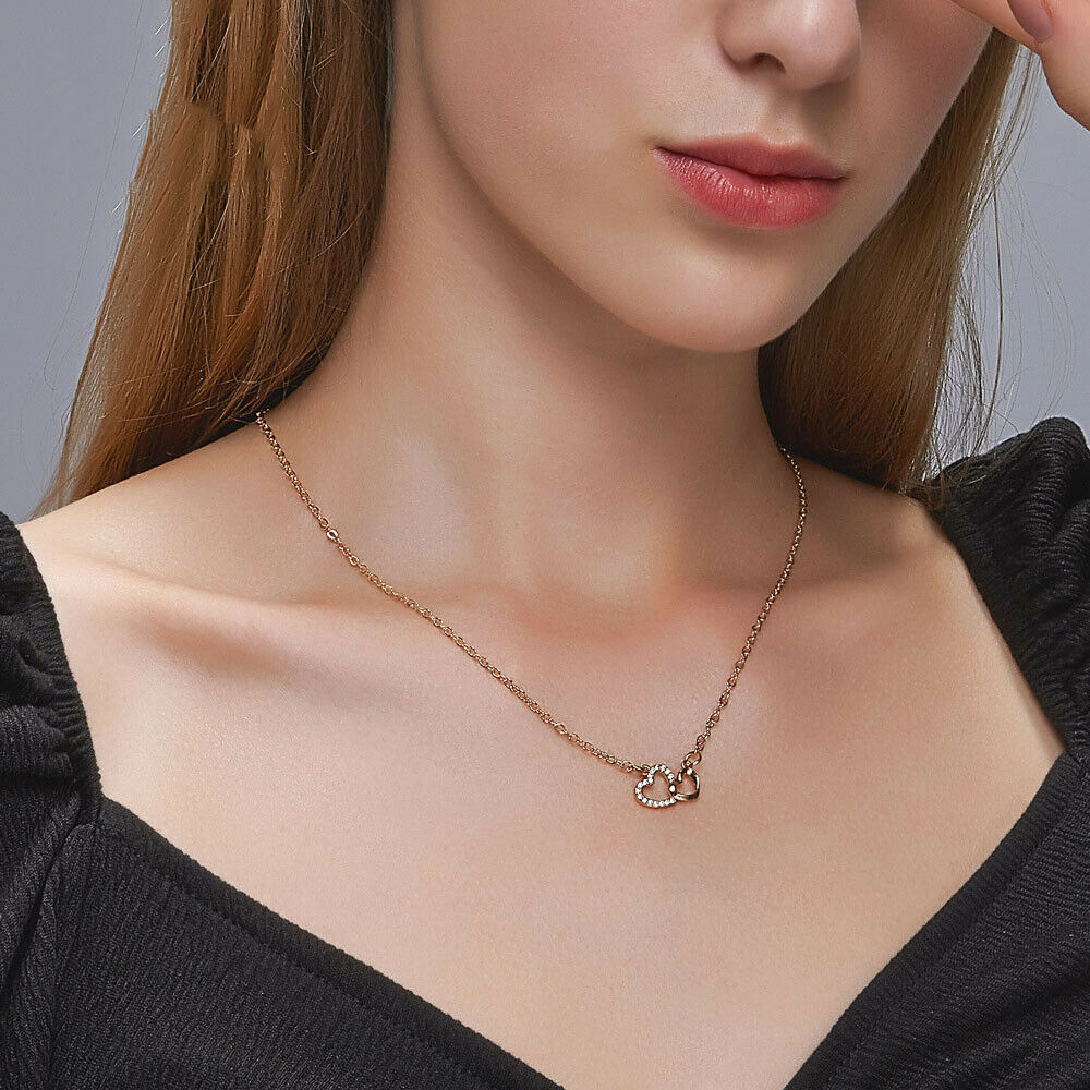 Silver Color Crystal Necklace Pendants Jewelry Heart Necklace Clavicle Chain