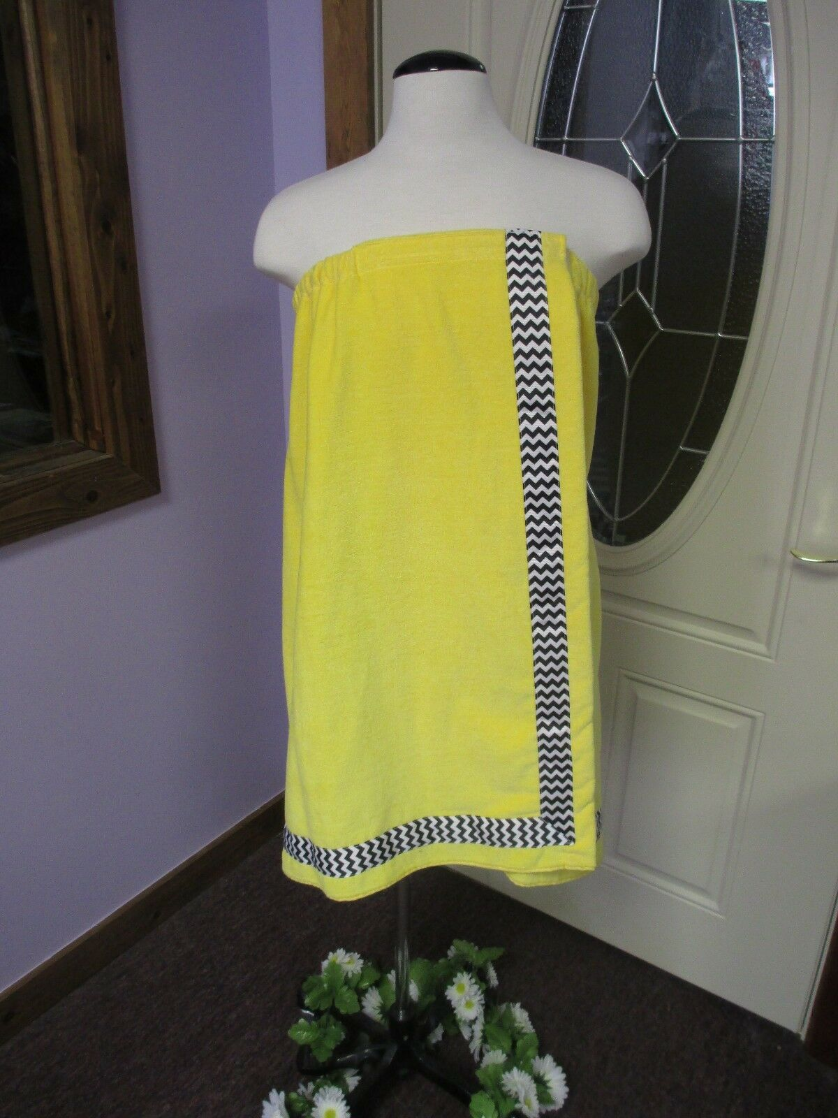 Monogrammed Yellow Shower Towel Wrap with Ribbon Trim