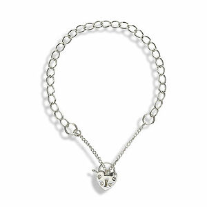 925 Sterling Silver Curb Link  Charm  Bracelet With  Heart padlock Clasp