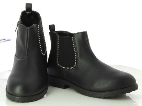 Child Kids Girls Boys Low Block Heel Zip Up Studded Chelsea Ankle Boots Shoes
