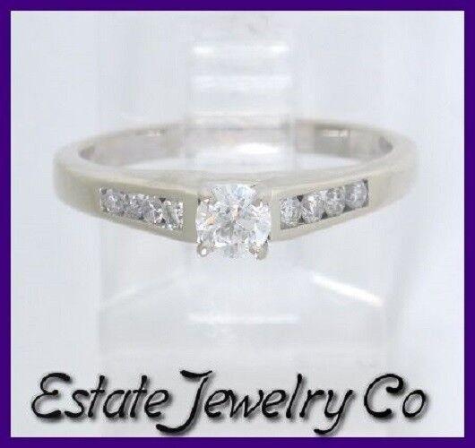 14k White gold Round Diamond Wedding Engagement Ring .38ct