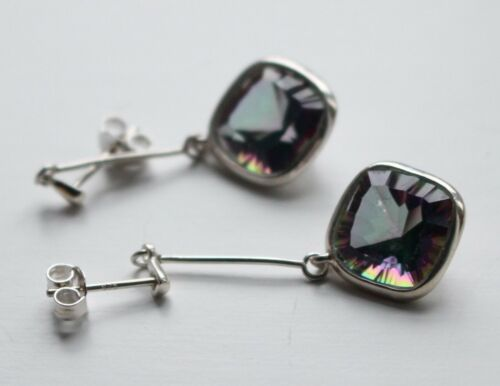 Gorgeous Solid 925 Silver Large Mystic Topaz CZ  Earrings