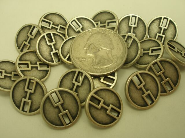 New lots of Antique Metal Silver Finish Buttons size 1 1/8 7/8 11/16 & 5/8 (SB)