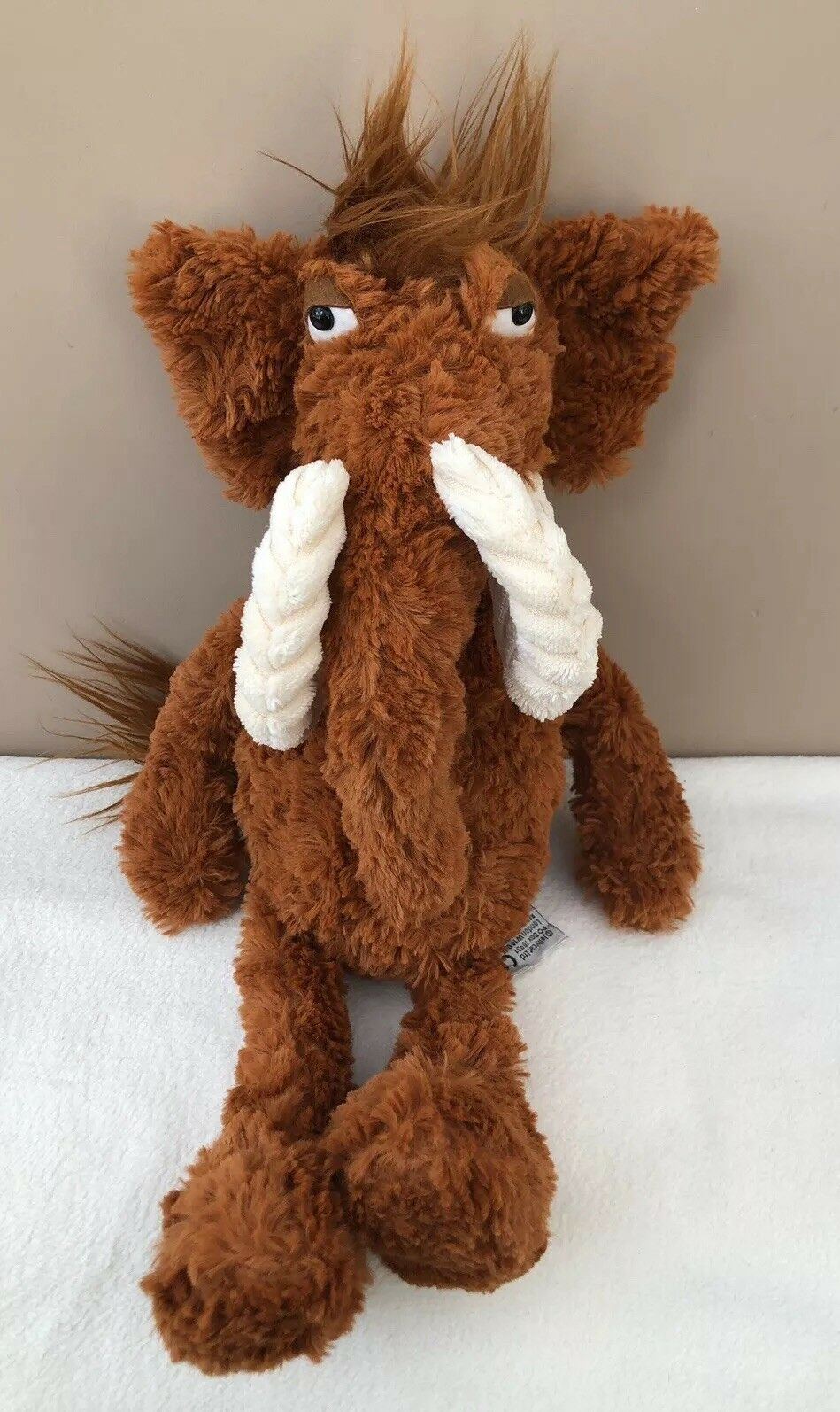 Jellycat Furryosity Woolly Mammoth Comforter Soft Toy Brown Plush Collectable