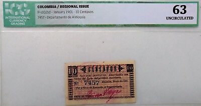 PAPER MONEY REGIONAL COLOMBIA 10 CENTS DEPARTMENT OF ANTIOQUIA 1901 CERTIFICATE