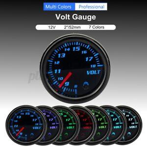 12V Car Auto 7 Color LED Voltage Meter 2/'/' 52mm Universal Volt Voltmeter Gauge