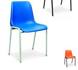 Sedie Da Ufficio Plastica.Sedia Fissa In Plastica Mono Scocca Per Ufficio Colore Blu Nero