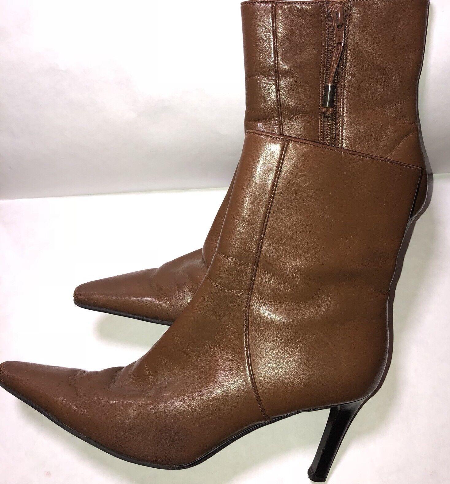 Ralph Lauren Women's Caramel Leather Ankle Boots Square Toe GUC Size 9 Zipper