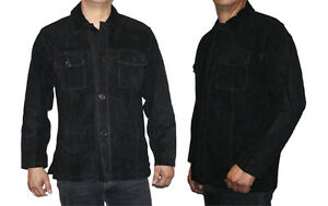 Men's Genuine Cow Suede Leather Jacket Buttons Closure Brand New Style# 572