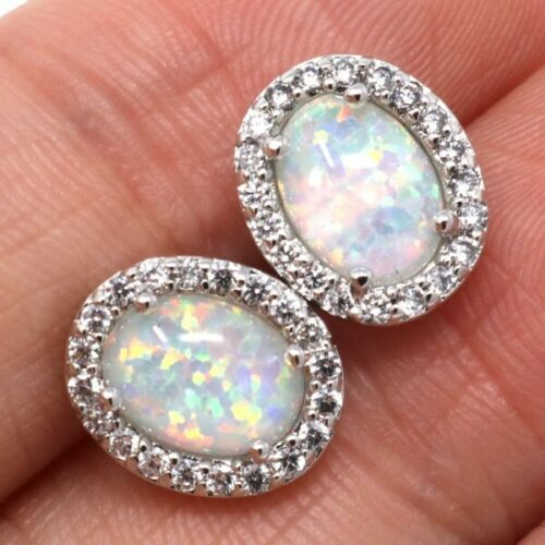 Oval White Opal Earrings Women Birthday Wedding Engagement Jewelry Nickel Free