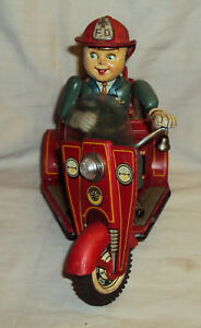 VINTAGE-NOMURA-TIN-JAPAN-FIRE-TRICYCLE-FD-NO-3-FIRE-DEPT-TINPLATE-TOY-1950