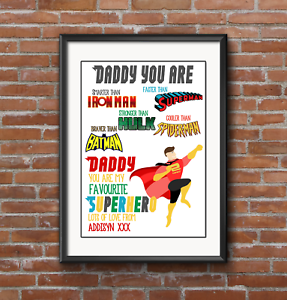 Image Is Loading Fathers DAY A4 Superhero Birthday Gift Dad Daddy