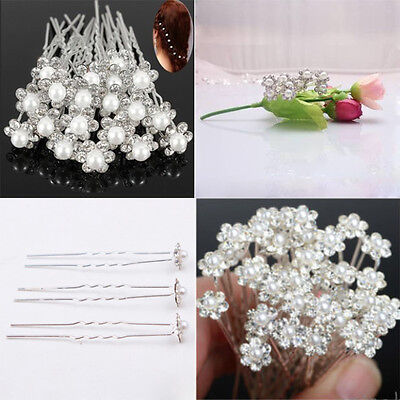 Sale 20Pcs Wedding Bridal Pearl Flower Crystal Hair Pins Clips Bridesmaid