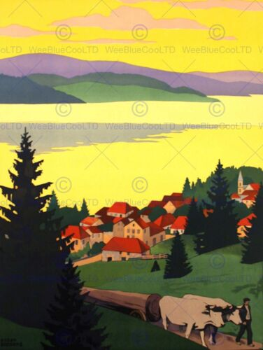 TRAVEL FRANCE JURA LAC MALBUISSON FINE ART PRINT POSTER CC1957