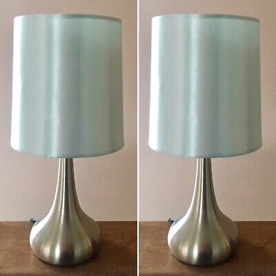 Pair Duck Egg Blue & Chrome Touch Table Lamps Lights Bedside Bedroom Tear Drop | eBay