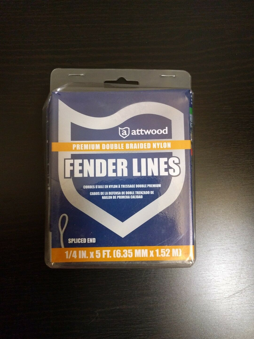 """ATTWOOD DOUBLE BRAIDED DOCKING FENDER LINE ROPE 11843-7 1//4/"""" X 5/'"""
