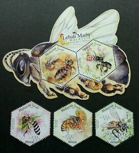 SJ-Malaysia-Honey-Bees-2019-Insect-Flower-stamp-ms-MNH-odd-shape-unusual
