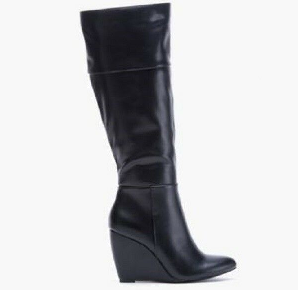 28a833e36c4 Sociology Women s Tall Riding BOOTS W Wedge Heel 4730-22 Black Size 6 M   b535 for sale online