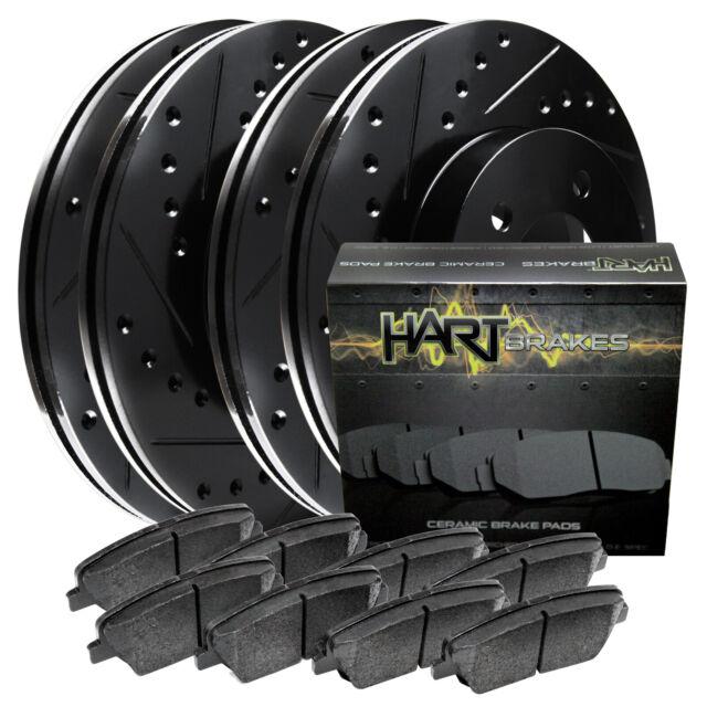 Front Set eLine Black Zinc Slotted Brake Rotors Ceramic Brake Pads