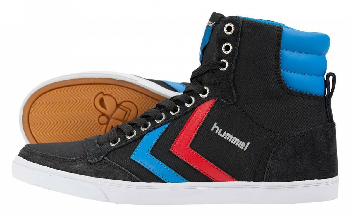 Hummel Slimmer Stadil High Canvas Sneaker Schuhe schwarz-rot-blau NEU 64319