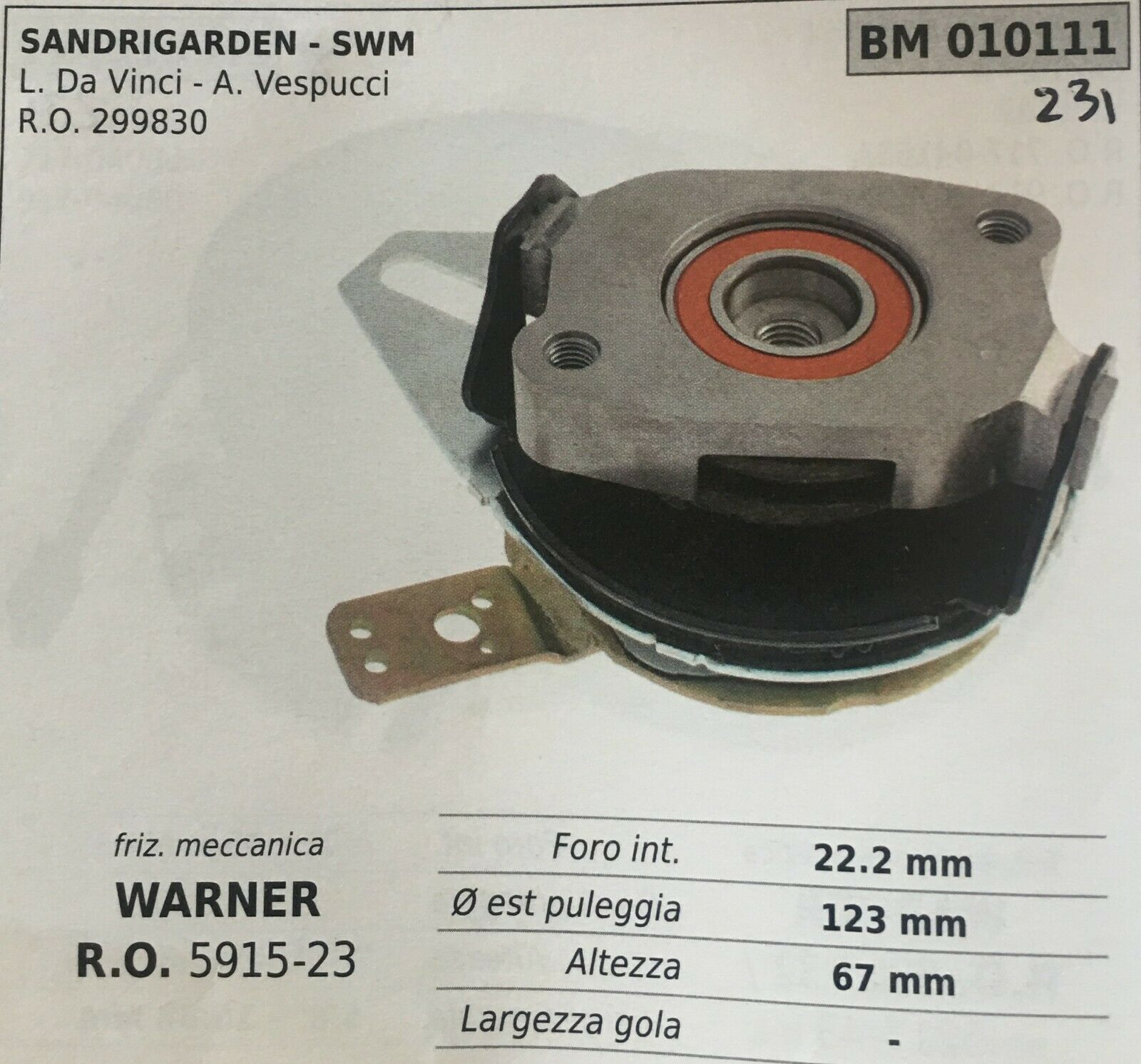 Kupplung Mechanik Brumar BM010111 Montesano - Swm