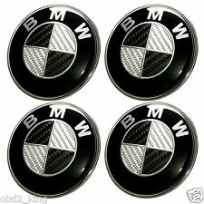 4 PCS BMW Carbon 68mm Wheel Center Cover Emblem Logo Hub Cap Set
