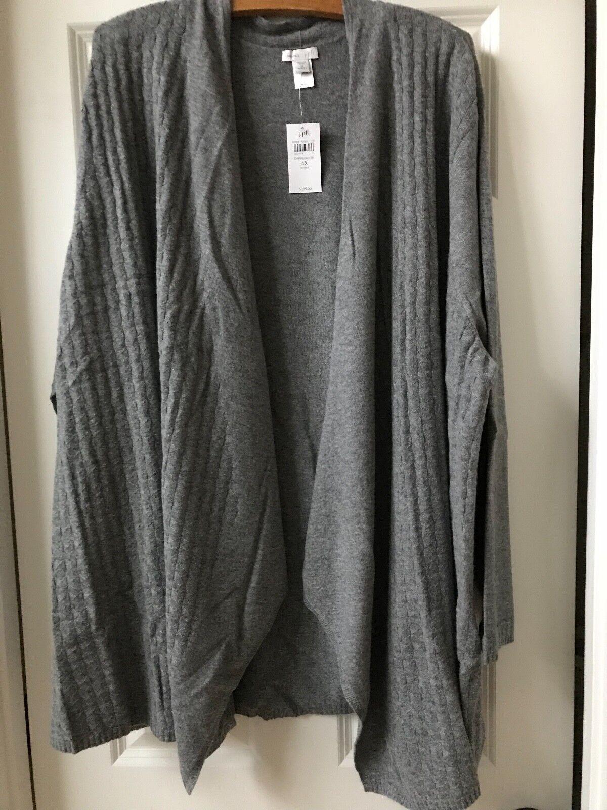 269 NWT J.Jill 100% Cashmere Drapped öppna Front Luxe bildigan tröja grå 4X