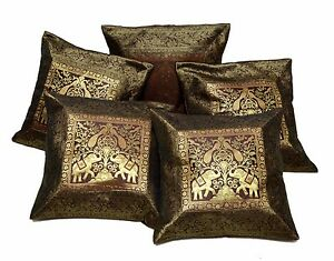 5pcs 100pcs Dark Brown Applique Traditional Indian Cushion Covers